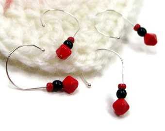 Removable Stitch Markers Crochet Red Black Snag Free Beaded Gift for Crochet Snagless DIY Crochet