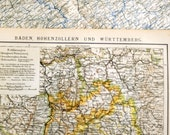 1897 German Antique Map of Baden, Hohenzollern, and Wuerttemberg
