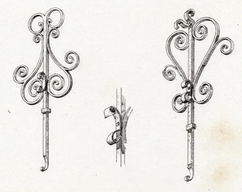 1880 French Antique Engraving / Antique Print of Decorative and Architectural Metalwork for a Gate in Valenciennes, France Stairway.Plate 21