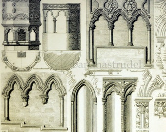 1845 Rare Large English Antique Engraving of British Architectural Gems. Arches, Seats, Niches and Monuments. Plate 77