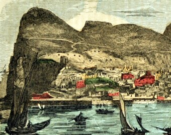 1800s Antique Hand Coloured Print of theRock of Gibraltar, Spain