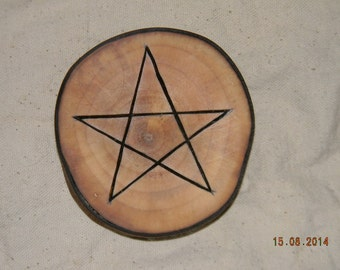 Alter Pentacle - Natural Round Horse Chestnut Wood