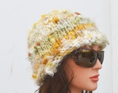 Chunky Knit Hat, Ecru Gold Cap, Woman Fluffy Cloche reserved for Mardi