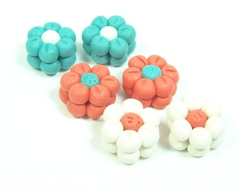 Little Spring Flower Pairs - Handmade Polymer Clay Beads