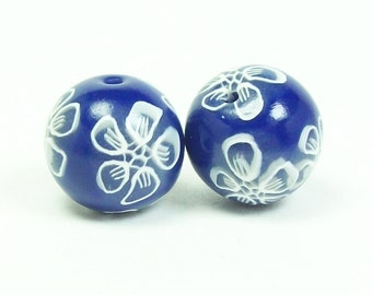 Handmade Polymer Clay Beads - Royal Blue with White Outlined Flowers