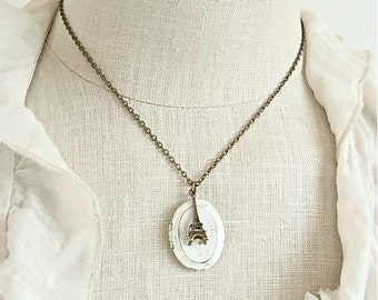 Oval Cream Paris Locket.  Eiffel Tower Charm Necklace.  Rustic Vintage Style Photo Keepsake.  Mother's Day.