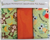 Babyville Boutique Waterproof PUL Fabric , Monkeys & Owls, Polyurethane Laminated Fabric, Diaper Fabric, Bib Fabric