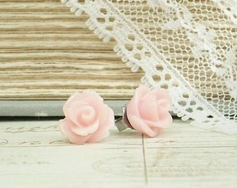 Pink Rose Studs Blush Pink Rose Earrings Rose Stud Earrings Pink Flower Studs Surgical Steel Studs