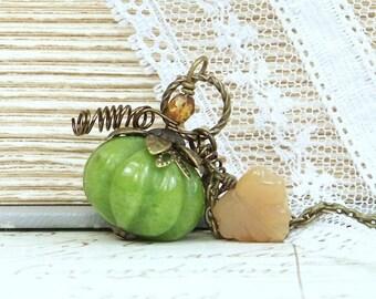 Pumpkin Pendant Necklace Autumn Jewelry Halloween Necklace Woodland Jewelry Fall Necklace Pumpkin Jewelry