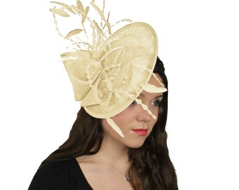 Cream Galina Fascinator Hat for Weddings, Kentucky Derby With Headband(in 20 colours)