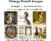 """DAE001A Romantic French - Digital Collage Sheet - Printable PDF - 20 Images - You Choose 1.5"""" or 1x1"""" Inchies or 7/8"""" or Scrabble Tiles"""