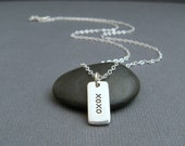 silver xoxo necklace. tiny sterling rectangle XO XO. hugs kisses love. word tag. small simple valentines day pendant. everyday jewelry gift