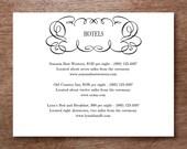Wedding Information Card Printable - Flourish - Blank Wedding Card Download - Wedding Info Card - Black & White Wedding Card - Directions