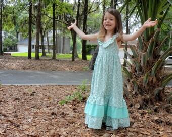 Halter Maxi Dress: Toddler and Little Girls Aqua Damask 2t - 10