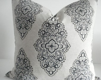 NEW-Both Sides - Neutral Damask Medallions -Decorative Designer Pillow Cover-Taupe-Charcoal -Natural  Throw /Lumbar Pillows