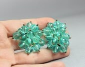 Crystal Bead Earrings / Vintage Clip Ons Earring / Women's Costume Jewelry