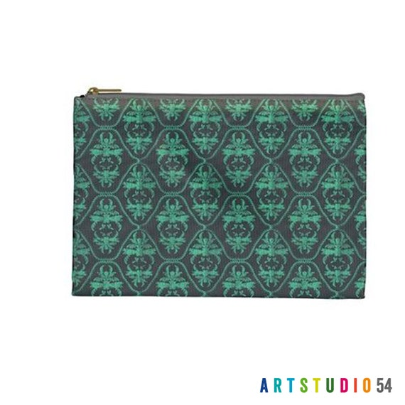 "Teal Grey Damask Pattern on a Pouch, Make Up, Cosmetic Case Travel Bag Pencil Case - 9"" X 6"" -  Large -  Made by artstudio54"