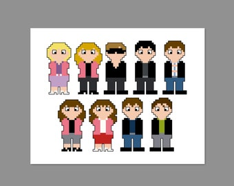 Grease 2 Pixel People Character Cross Stitch PDF PATTERN ONLY