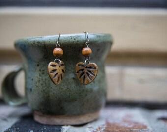 Wood Heart Earring