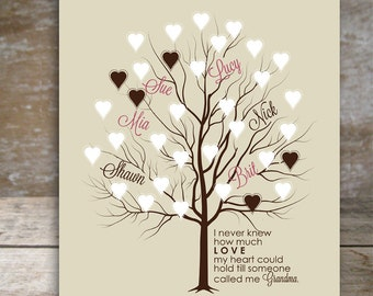Personalized grandma gift Gift for Grandma Gifts for nana Grandma gifts Tree wall art grandparents gift Grandchildren names Heart Tree Love