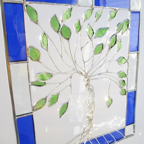Tree Of Life In A Blue Bevel Frame Stained Glass By