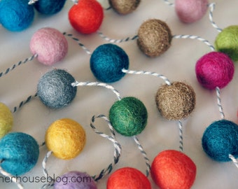 Vintage Luxe Felt Ball Garland on Baker's Twine with Gold and Silver Metallic balls