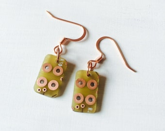Hoot Owl Upcycled RoHS Computer Board Earrings