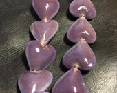 HEARTS - LARGE  - PURPLE - Glass - 6 pcs - 25 mm
