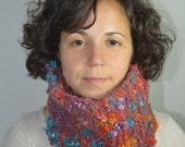 Autumn Handspun Handknit Cowl, Neck warmer, Winter Accessory, Wool and Alpaca, US Sheep, Kid Mohair, Organic