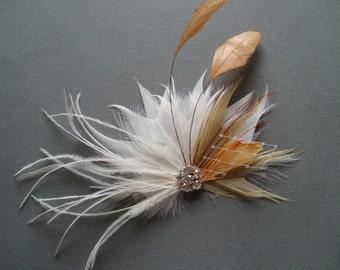 Fall Feather Hair Piece Wedding Hair Accessories orange Hair Clip bridal hairpiece Ivory