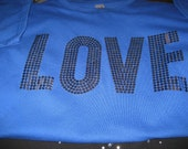 SALE Royal Blue T Shirt With Shiimering LOVE Transfer in Silvery Gray