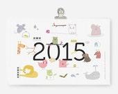 PDF printable Calendar 2015 - cute animal illustrations