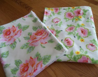 Set of 2 Fleece Baby Girl Blankets Rose Floral Nicey Jane