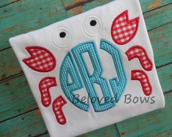 Monogram Crab Applique Shirt for Boy--Beach Shirt---Summer---Pool Party