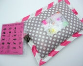 I Spy Bag  - Wipeable, Personalized, ABCs and Colors - Gray Polka Dots
