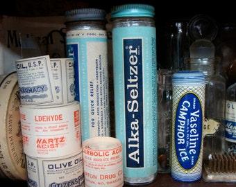 Antique Medical Glass Bottle Round Pretty Alka Seltzer Kitsch 1950s Bathroom Display Holder Organizer