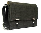"Last one -11"" MacBook Air messenger bag with leather strap - dark gray tweed"