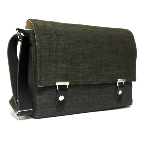 "Last one -11"" MacBook Air messenger bag with leather strap - dark gray tweed"