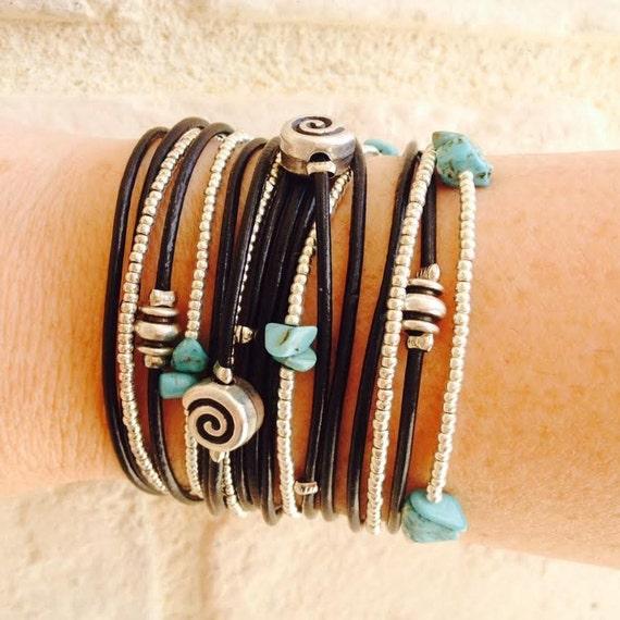 Best Friend Wrap Bracelet - Burning Man Wear - Modern Rustic Wrap - Multistrand Leather Bracelet - Ladies Wrap Bracelet