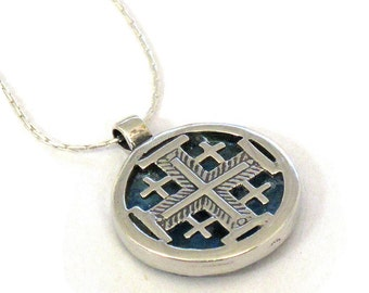 Large Jerusalem Cross Necklace, Roman Glass Necklace, Round Jerusalem Cross, 925 Silver Cross, Holy Land Cross, Israel Christian Jewelry