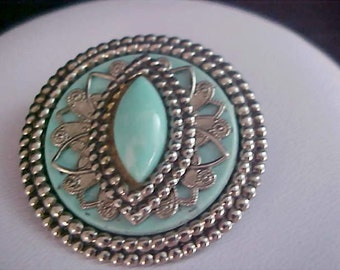 Simulated Turquoise Cabochon & Intricate Gilt  Gol;d and  Gold Plate Brooch