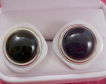 1950'S EBONY and  WHITE Square & Black Cabochon Post Earrings