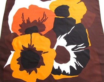 Graphic Vintage Scarf, Print Scarf, Floral, Flowers, Orange, Gold, Brown, Square Scarf, Made in Italy, Polyester
