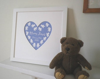 Personalised Framed Baby's Name Heart Print