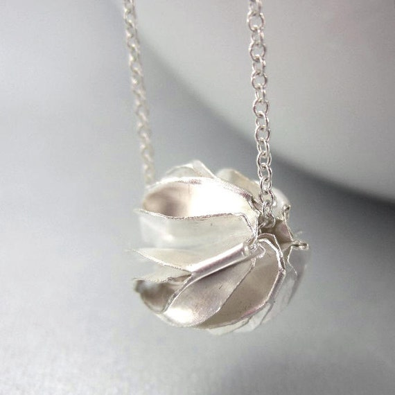 Michelia Flower Necklace, Sterling Silver Seed Pod Necklace, Organic Jewelry, origami