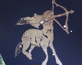 SAGITTARIUS, the Archer - November December Birthday Shadow Zodiac Constellation Greek Illustration Hand Embossed Hammered Greeting Art Card