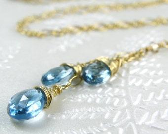 Genuine Blue Topaz Necklace, Y Style Pendant, Gold Filled, Handmade Gemstone Jewelry, December Birthday Gift, Birthstone, Ready To Ship