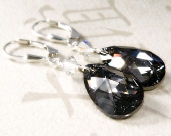 Black Crystal Earrings, Teardrop Swarovski, Sterling Silver, Bridesmaid Wedding Bridal Party Handmade Jewelry, Fall Fashion, Ready to Ship