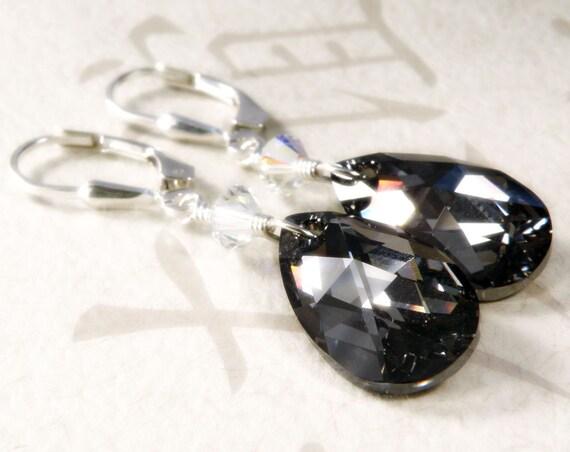 Black Crystal Earrings, Teardrop Swarovski, Sterling Silver, Bridesmaid Wedding Bridal Party Handmade Jewelry, Fall Fashion, Ready to Ship