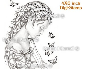 Dreamer Fairy Tangles Printable Digital Stamp Fairy Zentangle Stamps DIGI Download Fairies for Card Making and Coloring Grayscale images
